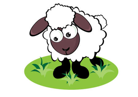 Cartoon Sheep on the meadow. Illustration for design Vector