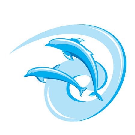 Two ornate dolphins on a white background.  Vector