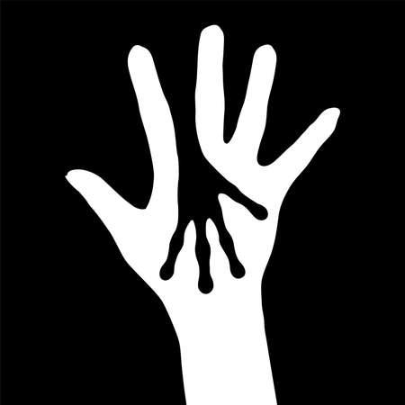 extraterrestres: Humanos y silueta de manos de extranjeros. Ilustraci�n sobre fondo blanco.