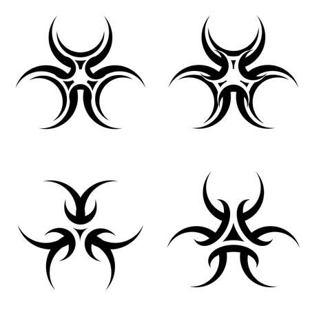 Set of tattoos symbol isolated on white background for design Vector