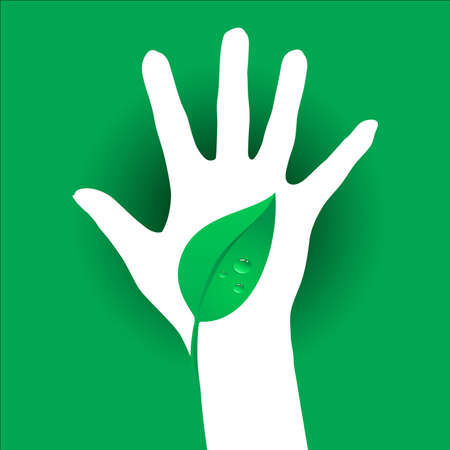 Hand and Leaf silhouette. Illustration on green background. Vector