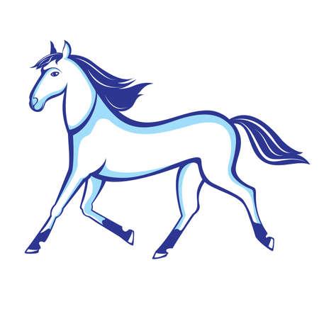 Illustration exécutant cheval isolé sur fond blanc Vecteurs