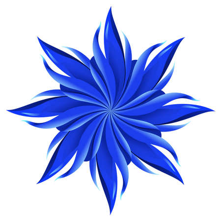 flower power: An abstract blue flower on white background. A highly useful art element.