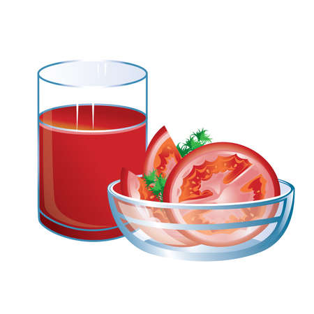 tomato cartoon: Tomato juice with glass and tomatoes