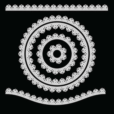 white napkin: Ornamental round lace. Illustration on black background Illustration