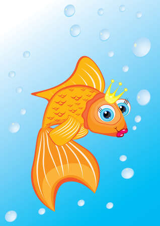 Classic Golden Fish With Golden Crown for design Vector