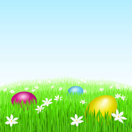 Easter eggs on green grass and white flowers Vector