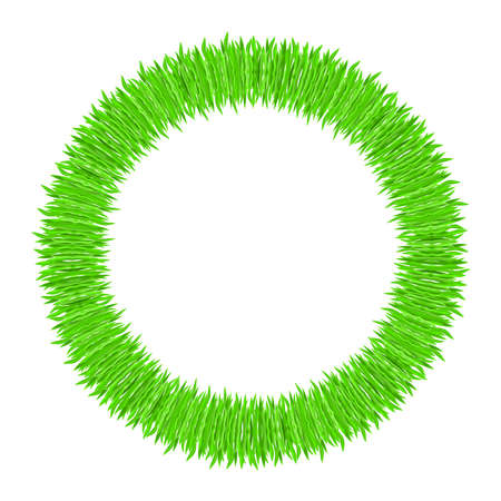 Vector illustration of grass frame. Green ring Vector