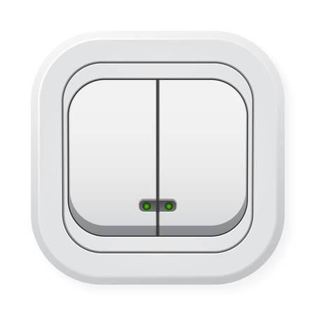 Double light switch. Illustration on white background Vektoros illusztráció