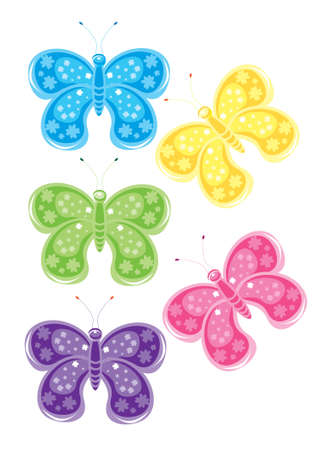 pink and black background: Set of different colored butterflies. Illustration on white