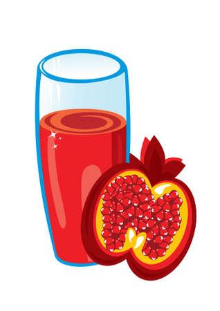 pomegranate juice: Pomegranate juice. Illustration on white background for design