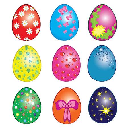 Easter eggs, Happy Easter Clip Art. Illustration on white Vector