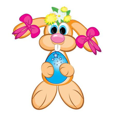Easter Bunny Girl con huevos color. Tarjeta de Pascua en blanco