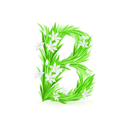 ancient alphabet: One letter of spring flowers alphabet - B. Illustration on white background