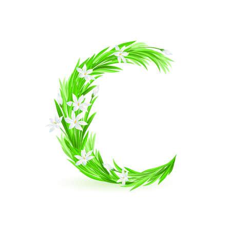 grass font: One letter of spring flowers alphabet - C. Illustration on white background
