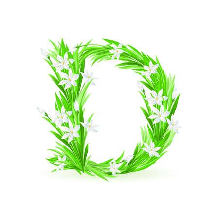 One letter of spring flowers alphabet - D. Illustration on white background Stock Vector - 9262154