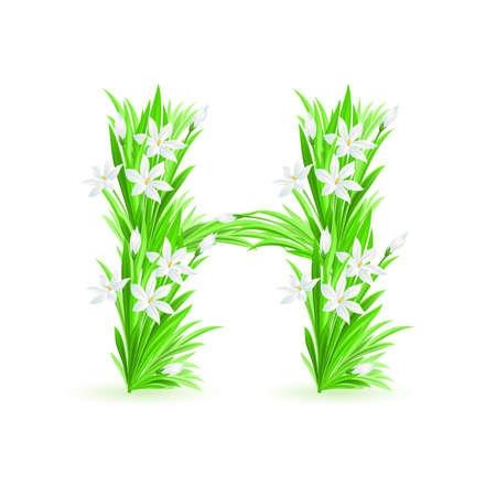One letter of spring flowers alphabet - H. Illustration on white background Vector