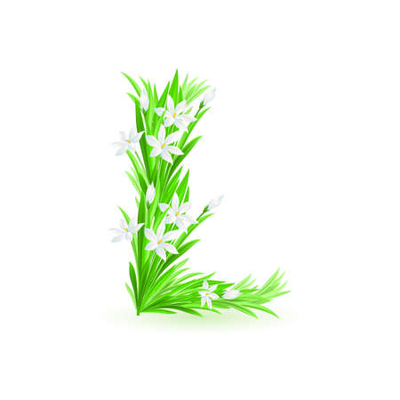 One letter of spring flowers alphabet - L. Illustration on white background Stock Vector - 9262081