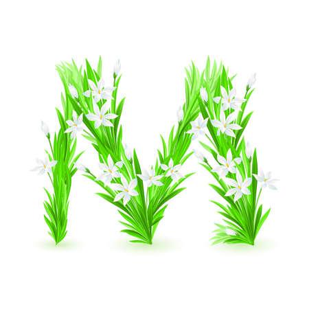 ancient alphabet: One letter of spring flowers alphabet - M. Illustration on white background