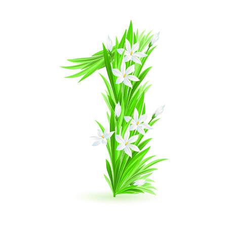 One alphabet symbol of spring flowers  - digit One. Illustration on white background Stock Vector - 9262076