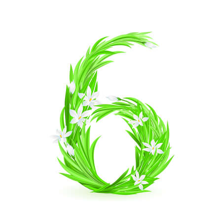 One alphabet symbol of spring flowers  - digit six. Illustration on white background Stock Vector - 9262111