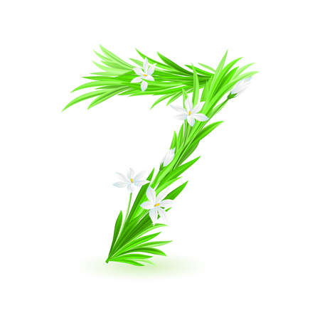 One alphabet symbol of spring flowers  - digit seven. Illustration on white background Vector
