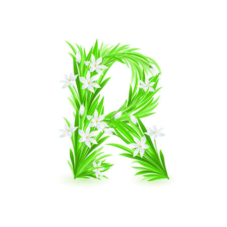 One letter of spring flowers alphabet - R. Illustration on white background Stock Vector - 9262135