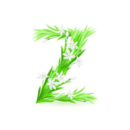One letter of spring flowers alphabet - Z. Illustration on white background Vector