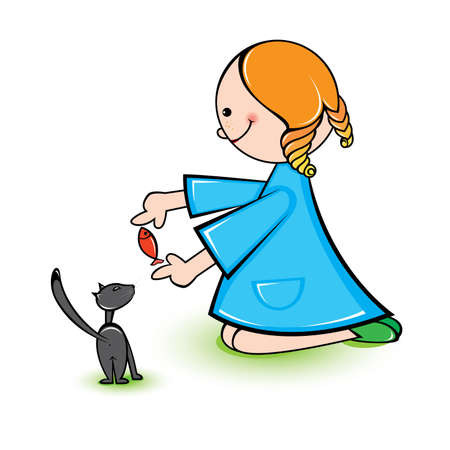 Illustration of girl with cat on a white background  Vector