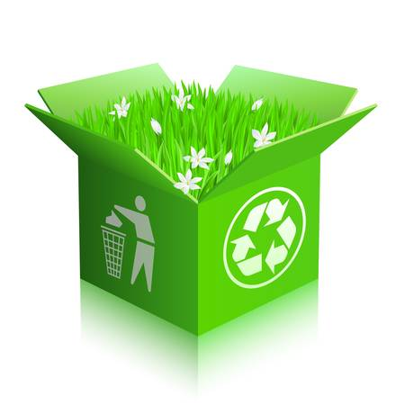Open recycle shipping box with grass and flowers. Isolated  Vector