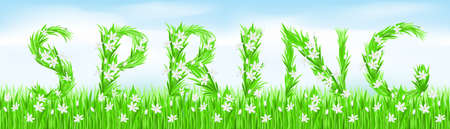 Eco-Style Grass Letters. Spring. Vector version letters is in my gallery. photo