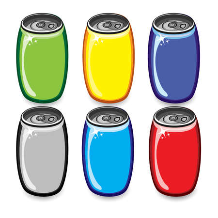 soda can: Colorful drink cans. Illustration on white background
