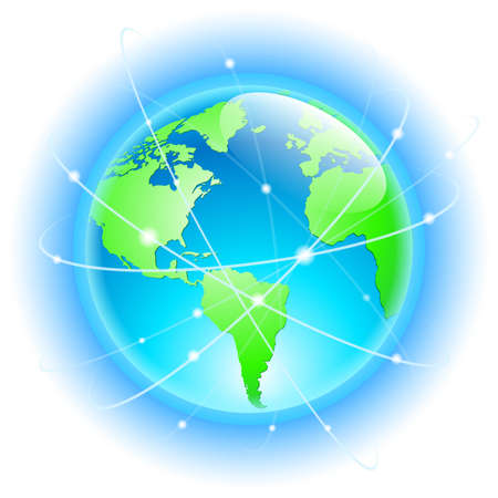 surveillance symbol: Globe with wired orbits of satellite. Illustration on white