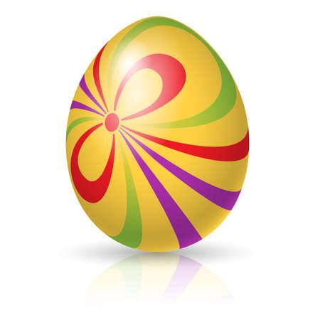 ornamentations: Unico uovo di Pasqua.  Regalo. Vector illlustration su bianco