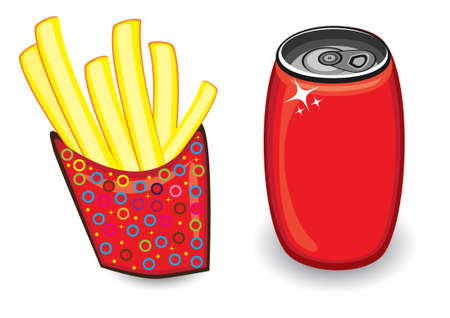 Illustration with french fries and red drink can on white Vector