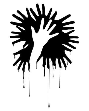 nursing mother: Silueta de manos. Nuevo dise�o de concepto. Ilustraci�n sobre fondo blanco.
