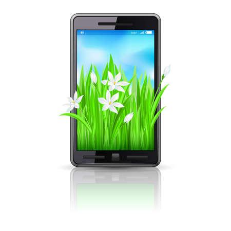 the blue cell: Mobile phone. Spring design. Illustration on white background