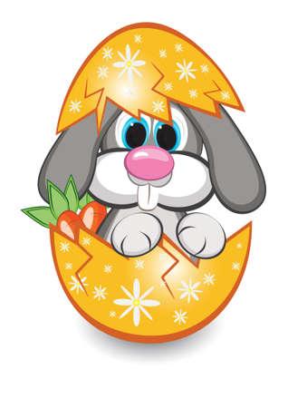 Rabbit in the egg. Illustration on white background Stock Vector - 9323590