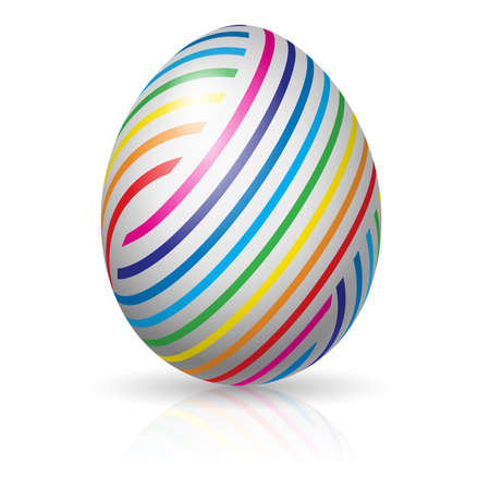 Beautiful easter egg with colorful stripes. Illustration on white background Vector