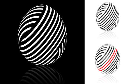 Set of abstract Easter egg with black, white and red stripes Stock Vector - 9333818