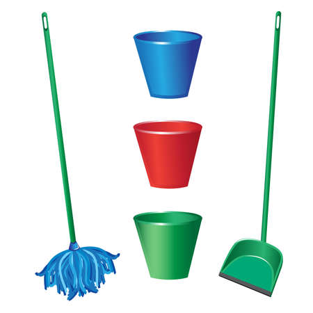sweeping: Floor cleaning objects. Illustration on white background