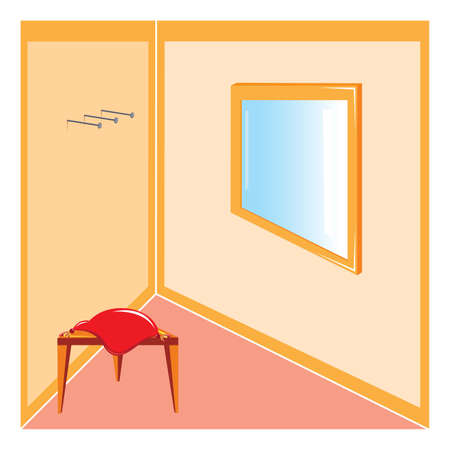 llustration corner of the room with furniture and a mirror Vector