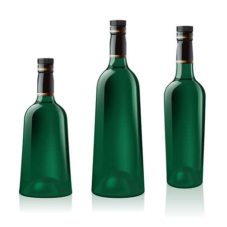 abstract liquor: Set number one of green wine bottle. Illustration on white background