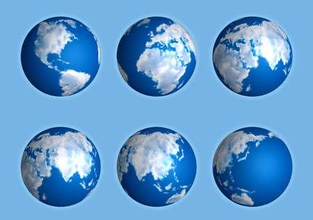 Set of Earth globes. Illustration on blue background illustration