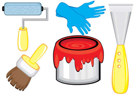 redecorate: Different Tools for repairs in the house. Illustration on white background
