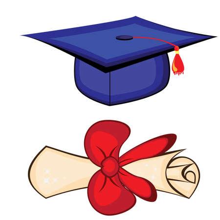 Diploma and graduation cap Vector