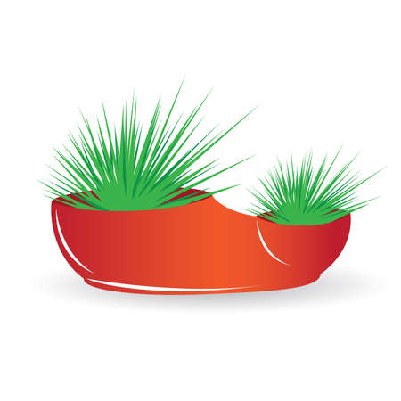 Two cactus in a red pot. Illustration on white background Stock Vector - 9351300