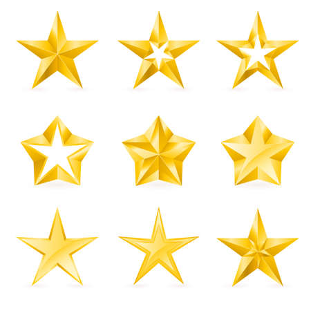 five stars: Different types and forms of gold stars. Illustration for design on white background