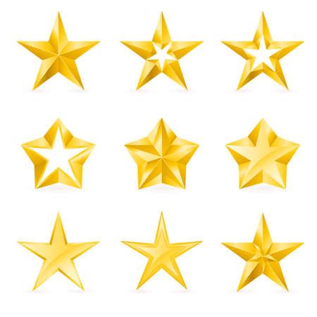 five objects: Diversi tipi e forme di stelle d'oro. Illustrazione per la progettazione su sfondo bianco Vettoriali