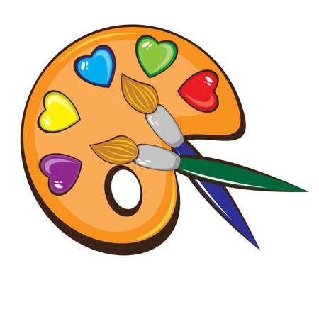 La tavolozza di arte di colori in forma di cuori e pennelli. Illustrazione su sfondo bianco